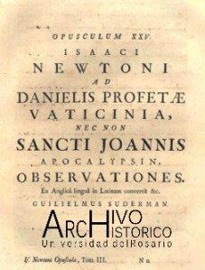 Portada del capitulo del profeta Daniel de la Opuscula Mathematica, Philosophica et Philologica. Newton pp. 258.