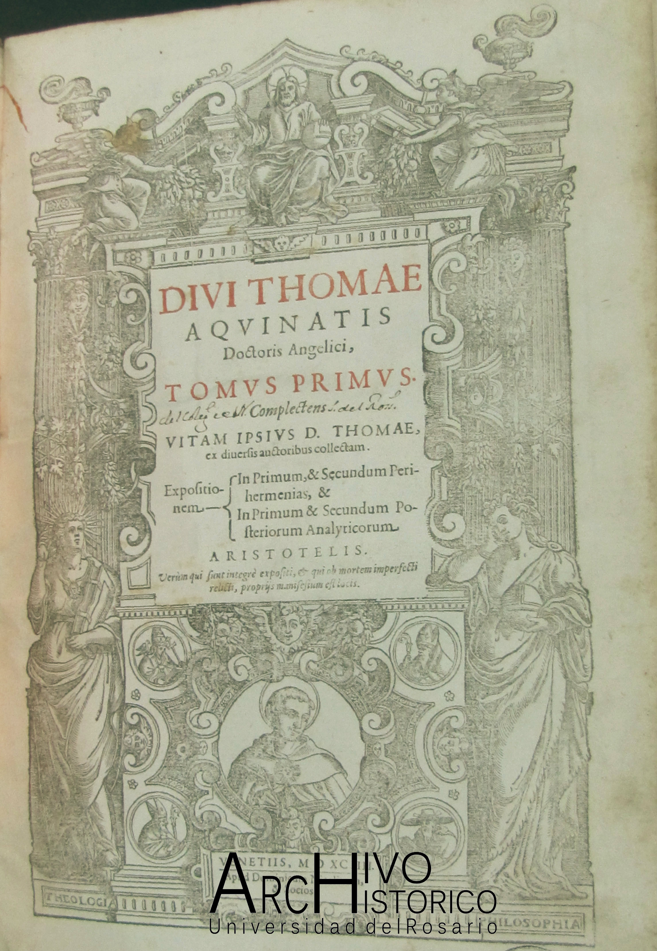 Portada del libro de Domenico Niccolini da Sabio. 1593 a 1596. Comentando a Santo Tomás de Aquino.