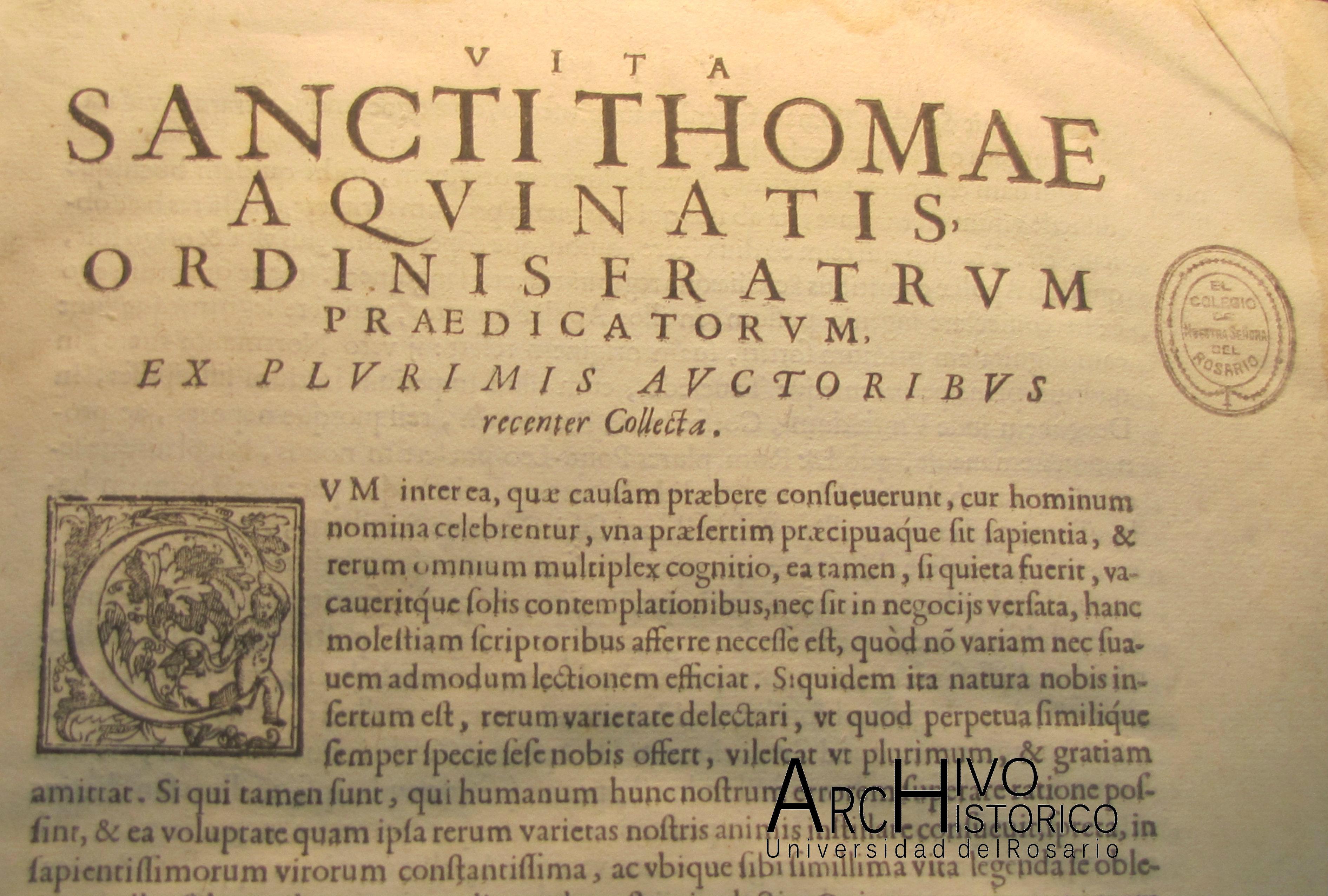 Detalle al Capitulo de Santo Tomás, del libro de Domenico Niccolini da Sabio. 1593 a 1596. Comentando a Santo Tomás de Aquino.