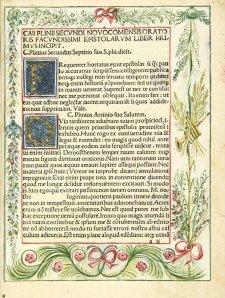 Ejemplar de la misma obra, con las letras capitales ya dibujadas y decorado en márgenes. Cortesia de Biblioteca Virtual del Patrimonio Bibliográfico BV PB. España.