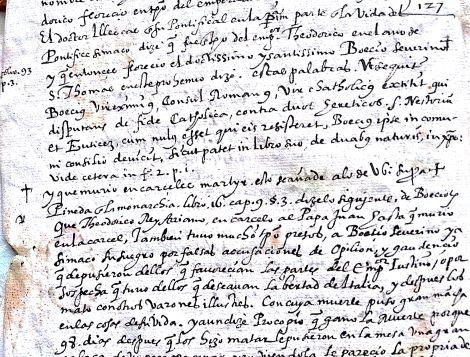 Guarda delantera: anotaciones manuscritas sobre la vida de Boecio