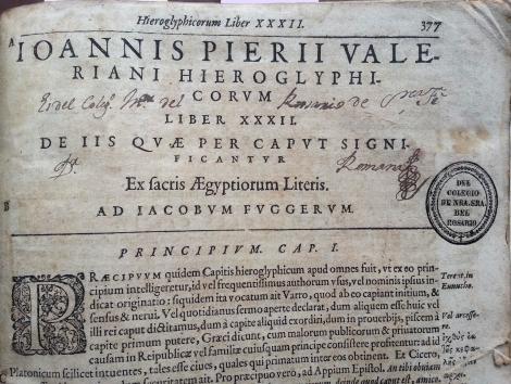 Hieroglyphica sive de Sacris Aegyptorum