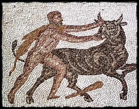 Mosaico que representa a Heracles hurtando uno de los toros rojos de Gerion (tomado de: http://thechestofdreams.blogspot.com/)
