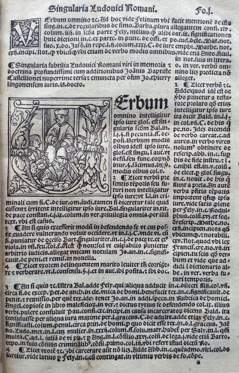 Singularia (Temas especiales) del señor Ludovico Romano…con los complementos de Juan Bautista de Castigliones… Destacar la calidad de las letras capitales. Y la presentación del texto impreso.