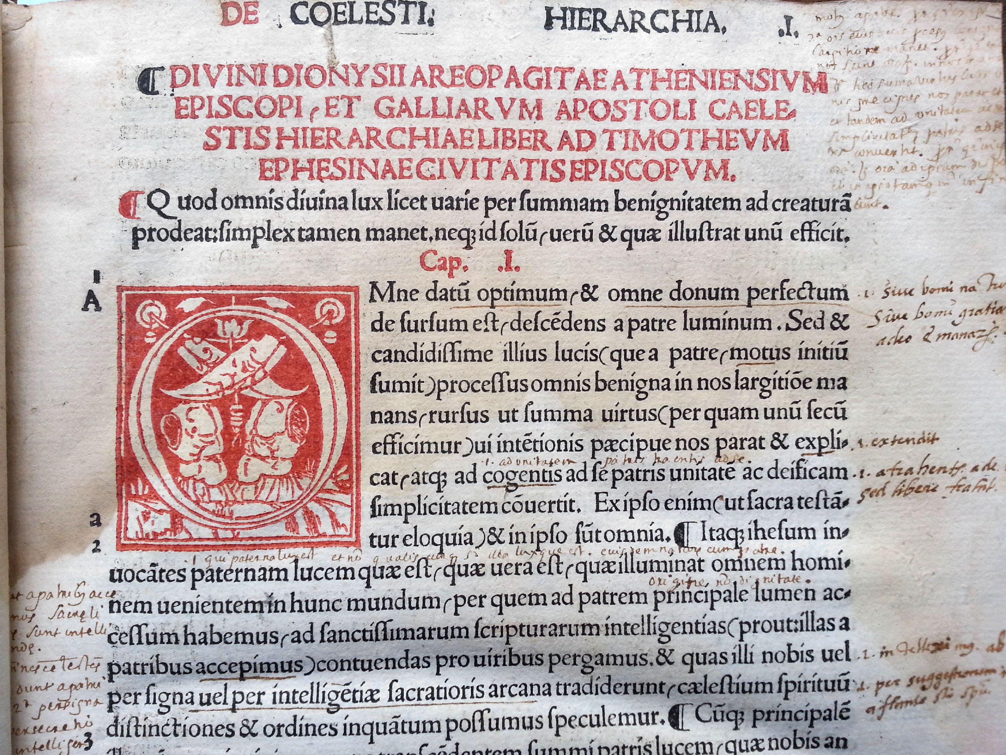 """""""De San Dionisio Areopagita, obispo de los atenienses y apóstol de las Galias, Libro sobre la Jerarquía Celestial"""" [dedicado] a Timoteo, obispo de la ciudad de Éfeso""""."""