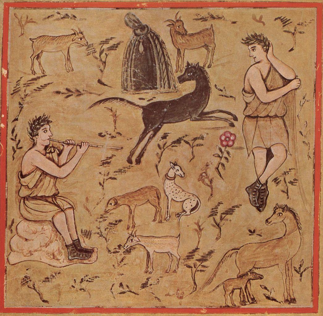 Die Georgica des Vergil, III. Buch, Szene, Schäfer bei ihren Herden.