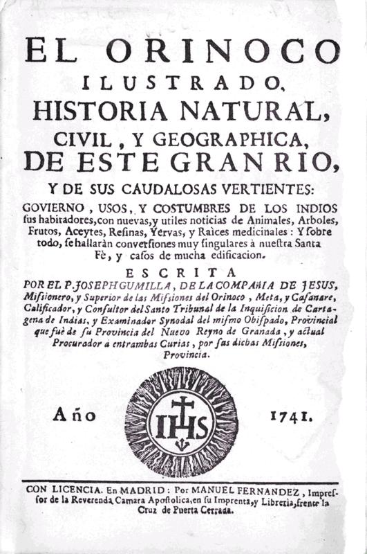 Gumilla, una de las lecturas científicas del abogado Caldas. Leyó también a De la Condamine, a Jorge Juan y a Antonio Julián, entre otros.