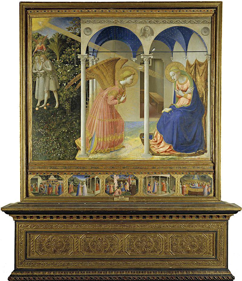La Anunciación, retablo que Fra Angelico ejecutó para el convento de Santo Domingo en Fiesole.