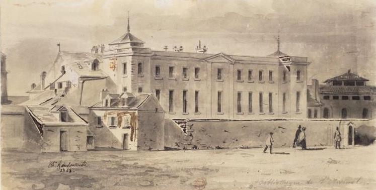 L'Arsenal, por Charles Ransonnette, 1848. En 1824, Carlos Nodier se encargó de la dirección y allí mantuvo tertulias muy afamadas.