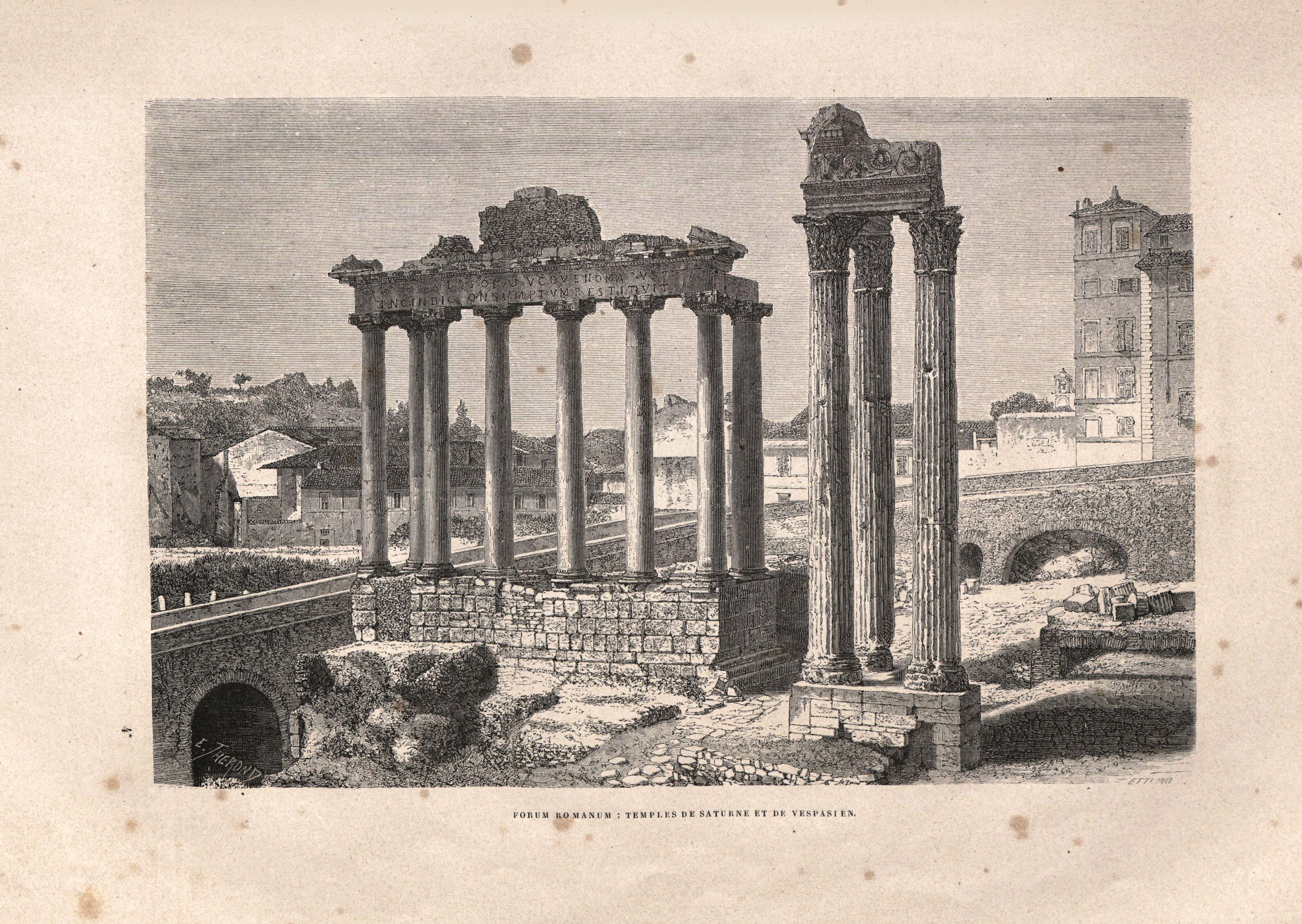 Foro Romano, templos de Saturno y Vespasiano.