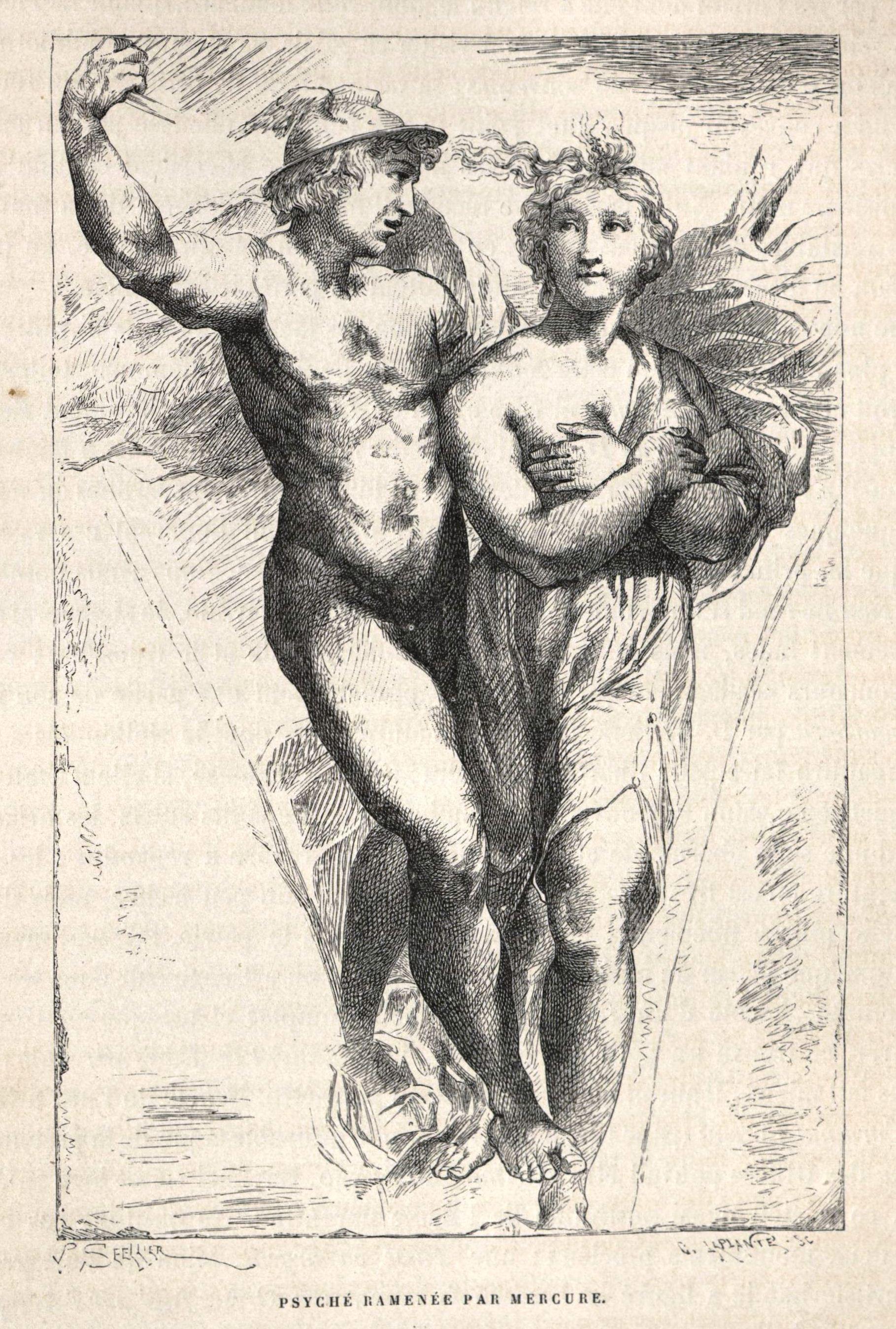 Psique acompañada por Mercurio. El dios conduce a la bella joven al cielo, donde se hará inmortal bebiendo ambrosía.