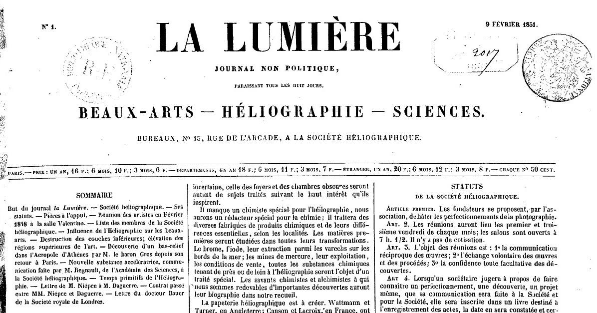 En el primer número de La Lumière, Wey contribuye con el ensayo De l'influence de l'Héliographie sur les beaux-arts. Wey fue colaborador asiduo de la revista.