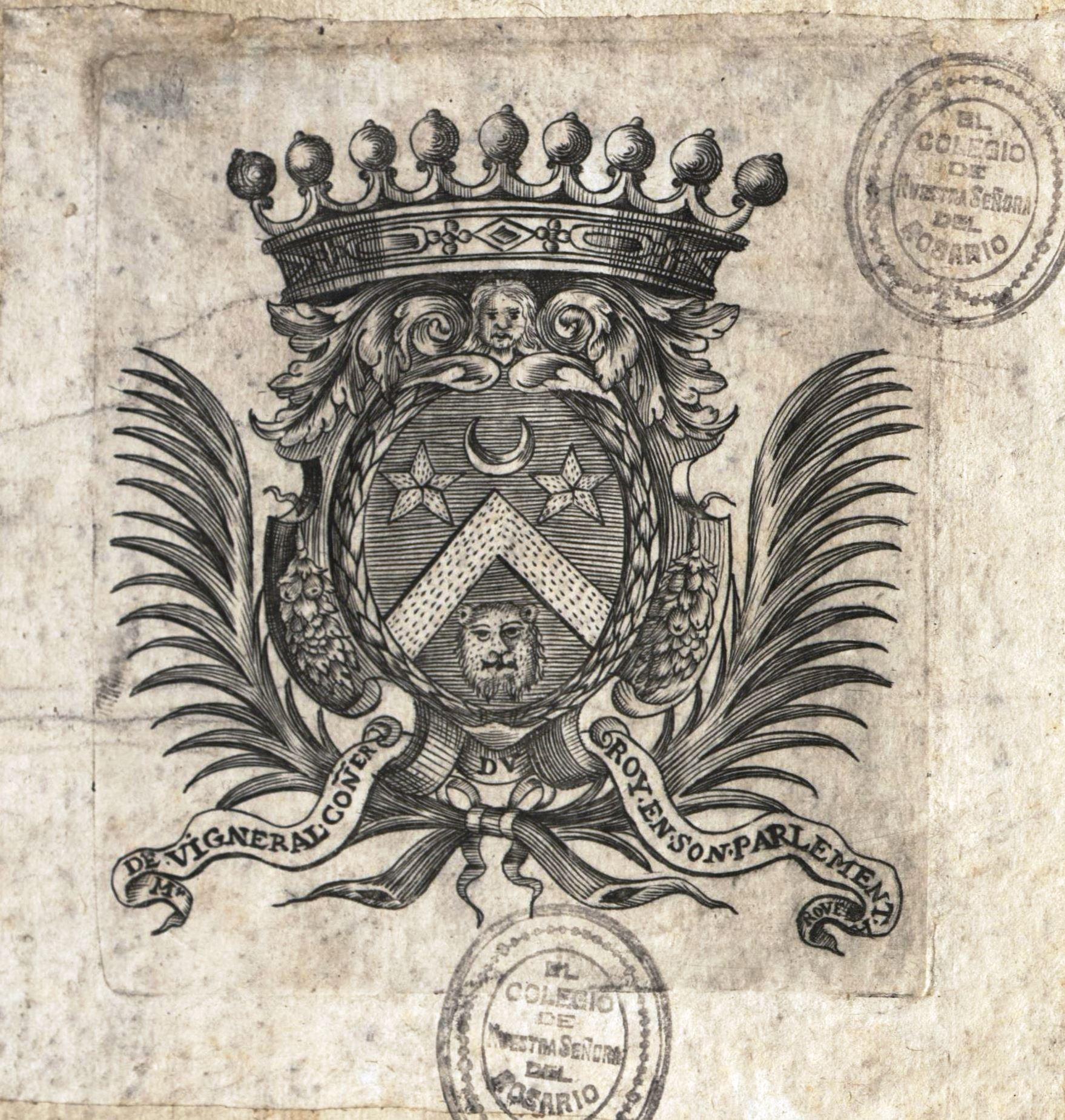Hay referencia de Raoul de Vigneral de Canteloup, consejero en 1668, y de su hijo Guillaume de Vigneral de Sevray, consejero en 1702. Pero el ex libris figura ya en una edición alemana de Dionisio de Halicarnaso de 1586.