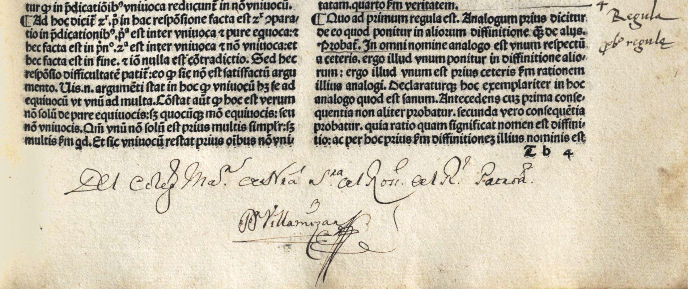 Puede tratarse de Dionisio Villamizar, pasante de Filosofía en 1752, y en el 58 catedrático de Teología Moral. Aunque también podría ser Santiago Burgos Villamizar, catedrático de Prima, quien usaba a Santo Tomás.