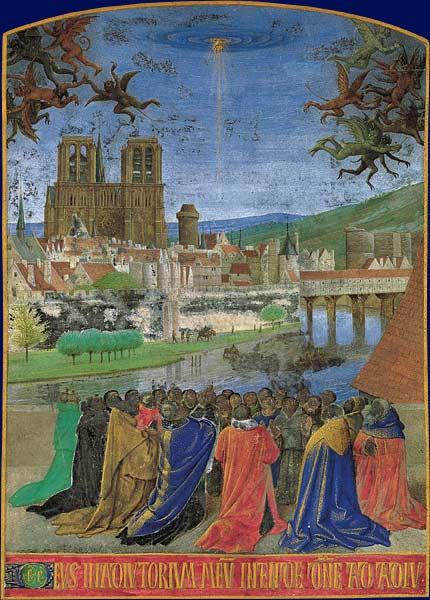 Notre-Dame, en una obra de Jean Fouquet (s. XV).