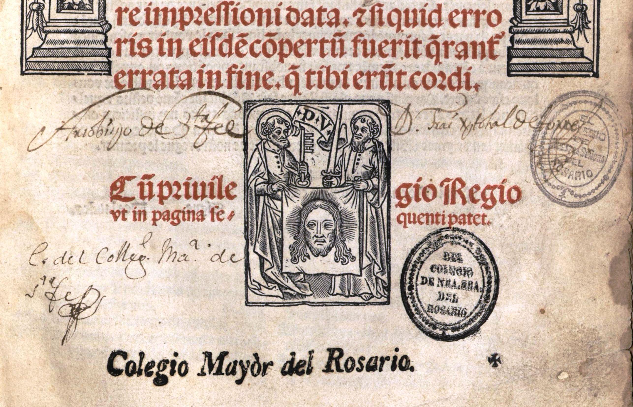 Firma del Fundador en eun comentario de Tomás de Garbo a Galeno.