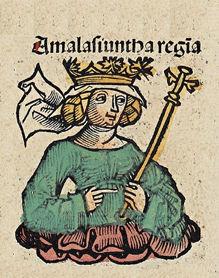 La reina Amalasunta en la Crónica de Núrenberg.
