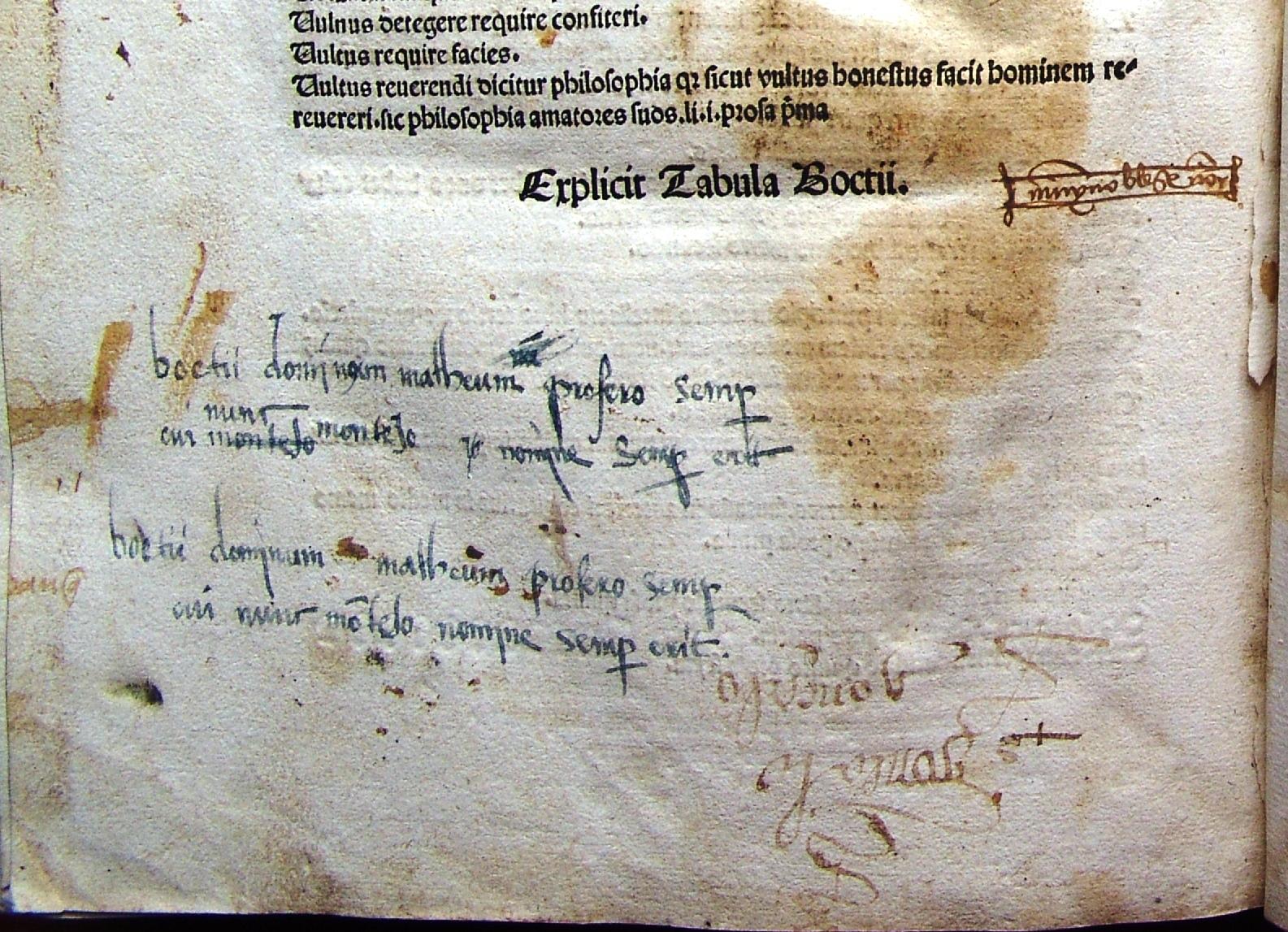 Plana alusiva a Boecio, al final de la obra.