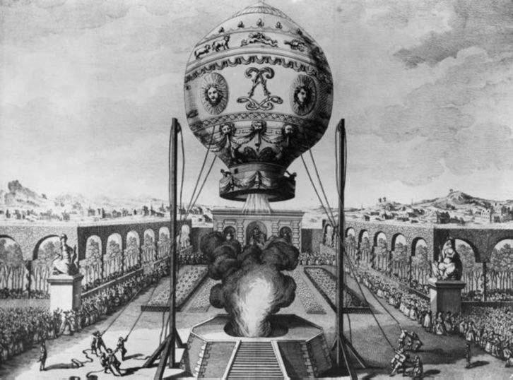 Primer vuelo tripulado, en 1783.