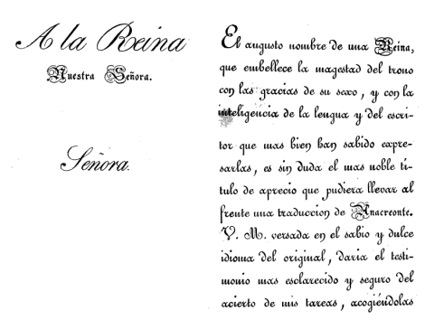 """Detalle de la dedicatoria de Castillo y Ayensa: a la reina María Cristina, """"versada en el dulce y sabio idioma del original""""."""