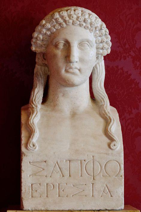 Safo de Éreso, busto romano copiado de un original griego.