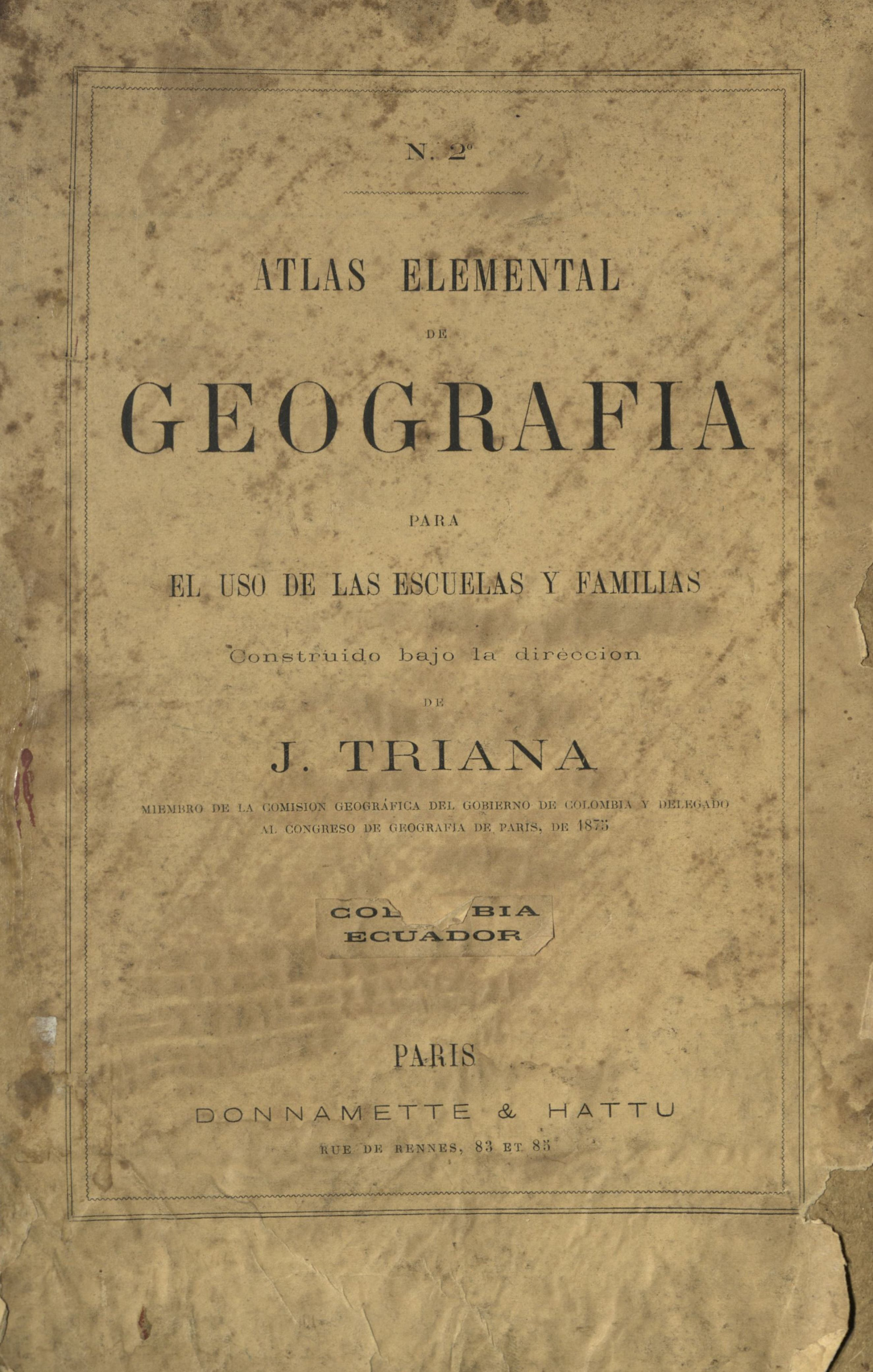 Altas Elemental de geografía para el uso de las escuelas y familias (E36N109).