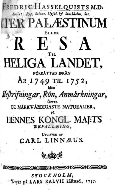 Hasselquist era alumno de Linneo