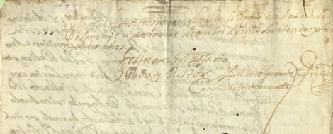 Firma de Juan del Rosario, presentado rector.