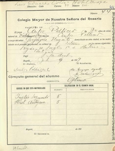 libro de matrículas y calificaciones, correspondiente a 1919, en el folio 44